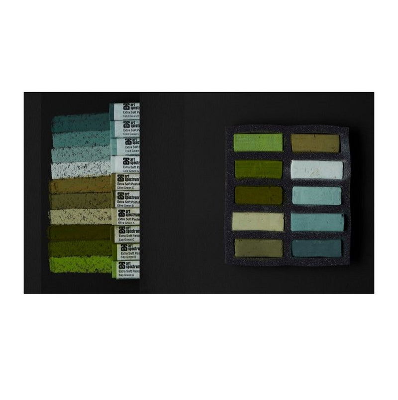 AS Extra Soft Square Pastels Box of 10 - Greens