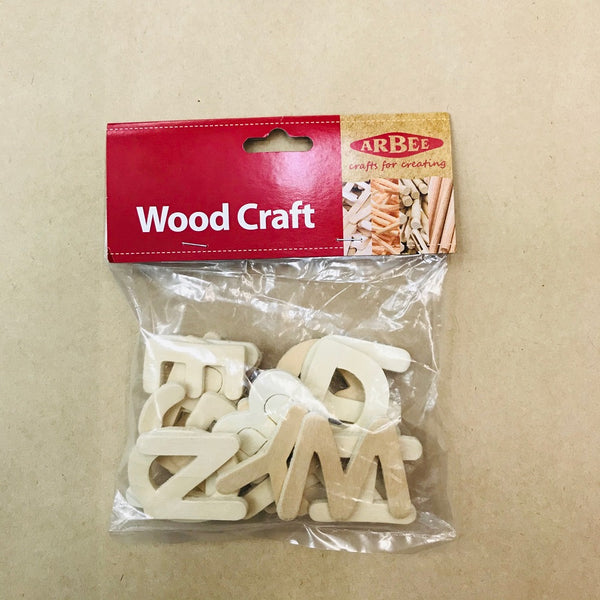 Arbee Wood Letters 40mm Natural Pkt 26