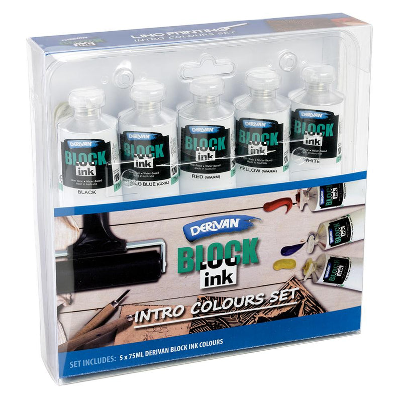 Derivan Block Ink Tube Set 5 x 75ml