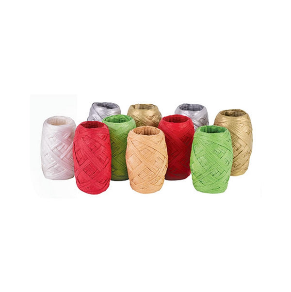 Paper Raffia Christmas Colours Pack of 10