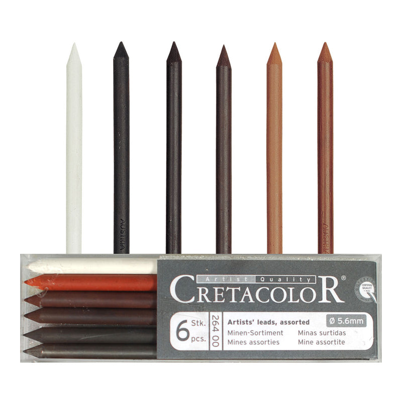 Cretacolor Refill Assortment Pkt of 6 5.6mm