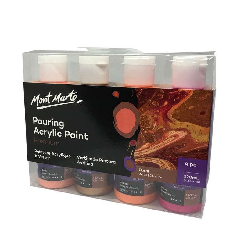 Mont Marte Pouring Acrylic 120ml x 4 - Coral