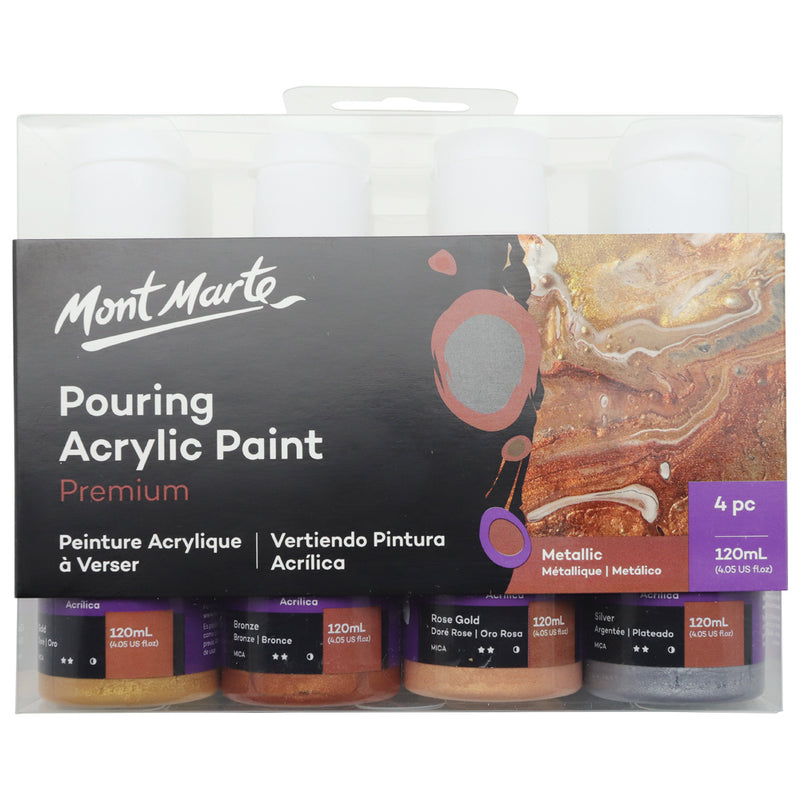 Mont Marte Pouring Acrylic 120ml x 4 - Metallic