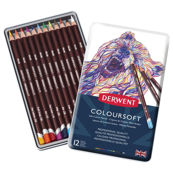 Derwent Coloursoft Pencils Tin of 12 Assorted