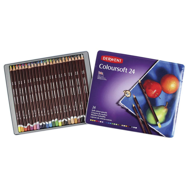 Derwent Coloursoft Pencils Tin of 24 Assorted