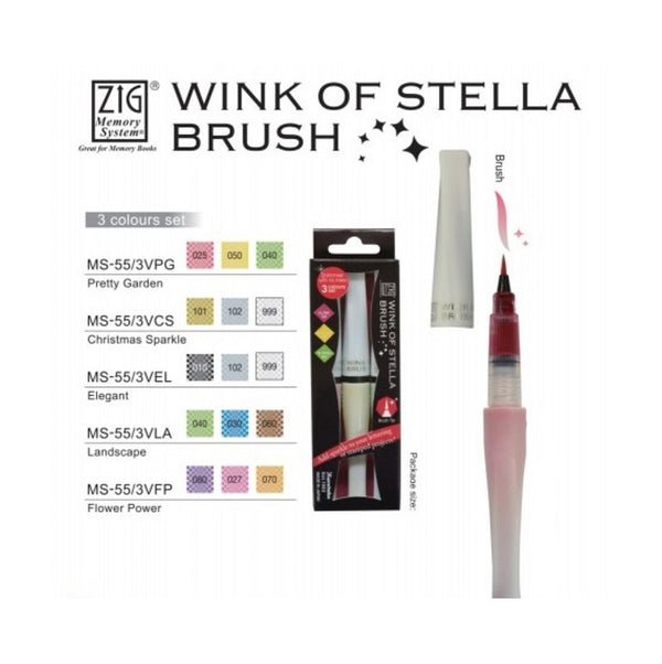 ZIG Wink of Stella Brush 3 Colours - White Christmas