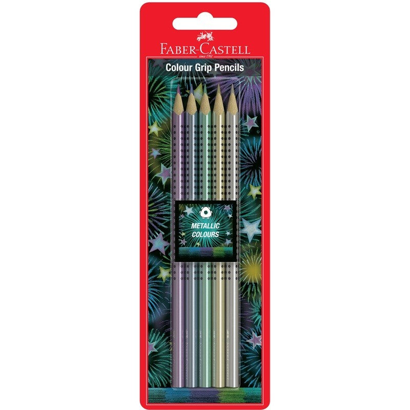 Faber-Castell Colour Grip Metallic Pencils Pk 5