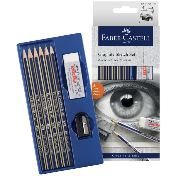 Faber-Castell Graphite Sketch Set Pencils Sharpener Eraser