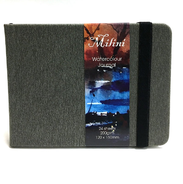 Milini Watercolour Journal 200gsm 12x16cm - Grey