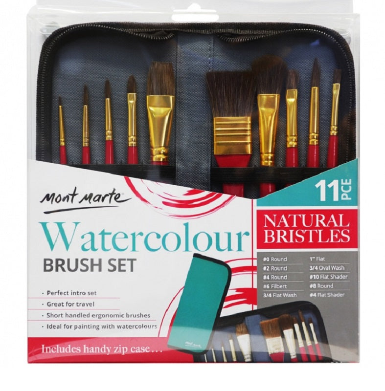 Mont Marte Signature Brush Set in Wallet 11pc - Watercolour