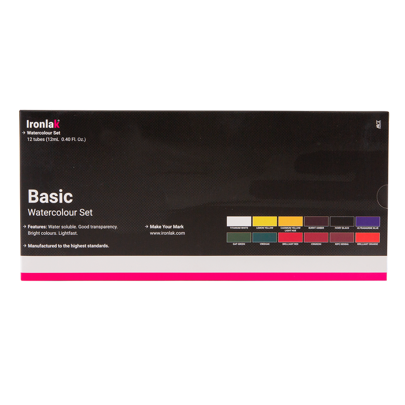 IRONLAK BASIC WATERCOLOUR 12 PIECE SET