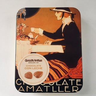 Chocolate Amatller- Milk Chocolate leaves in beautiful collectable tin