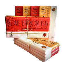 Load image into Gallery viewer, Love Byron Bay's - Delicious Milk Chocolate Blocks Special Offer - Buy 3 and get one FREE