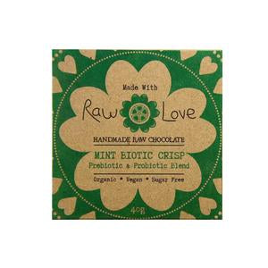 Raw Love Handmade Chocolate Mint Prebiotic Probiotic Organic Vegan SugarFree Love Byron Bay