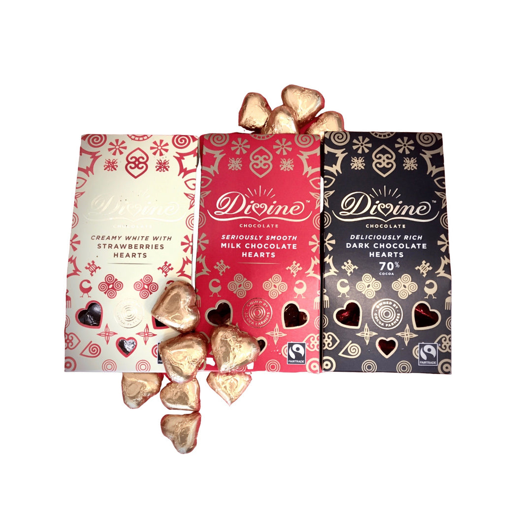 Gift Box set of three - white with strawberries, milk & dark chocolate hearts