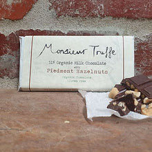 Load image into Gallery viewer, Monsieur Truffe - 49% Organic Milk Chocolate with Roasted Organic Hazelnuts