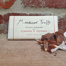 Load image into Gallery viewer, Monsieur Truffe - 37% Organic Milk Chocolate with Organic Almonds & Caramel