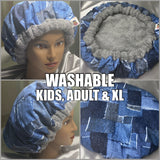 Denim Patch Washable, Microwavable Natural Hair Deep Conditioning Heat Cap Thermal Cap