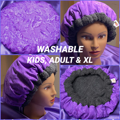 Washable, Microwavable Deep Conditioning Heat Cap Natural Hair Repair Thermal Cap  - *made to order* - Purple Rain
