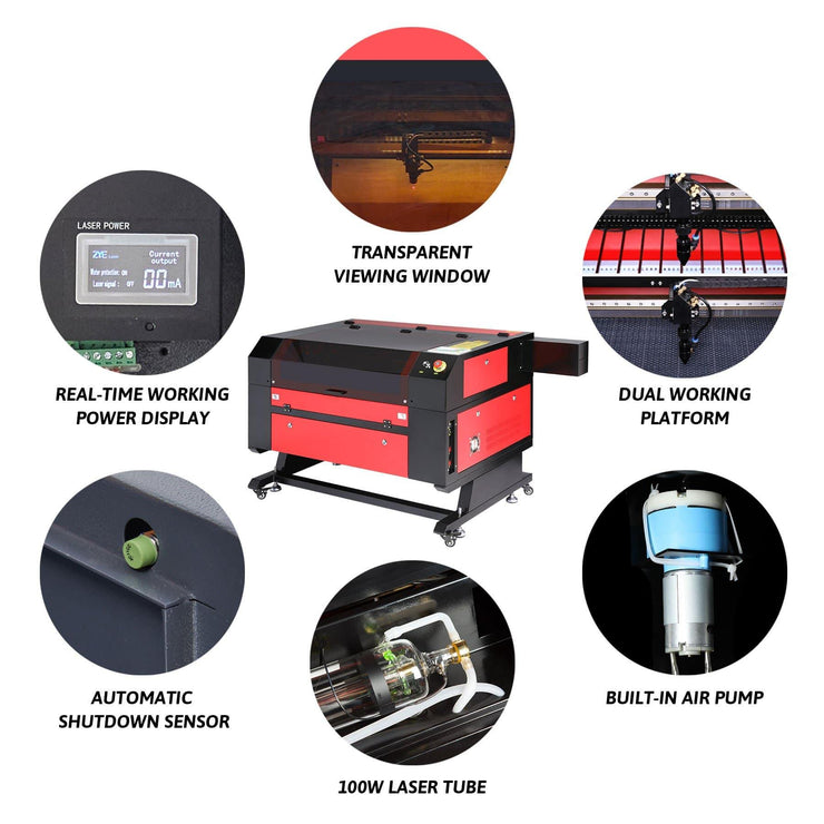 100W CO2 Laser Engraver Cutting Machine Features