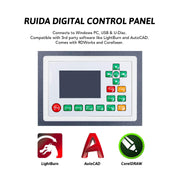 100W CO2 Laser Engraver Cutting Machine Ruida Digital Control Panel