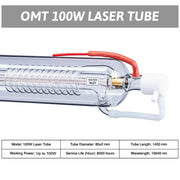 100W CO2 Laser Tube Specifications