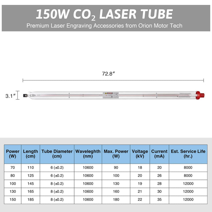 12000hr Service Life A8S CO2 Laser Tube Capacity