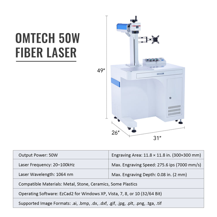 50W Fiber Laser Engraver Dimensions & Specifications
