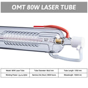 80W CO2 Laser Tube Specifications