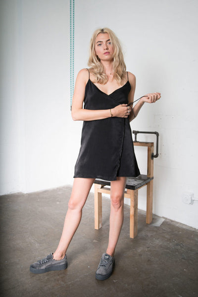 Rose Mini Wrap Dress - Black Poly Woven