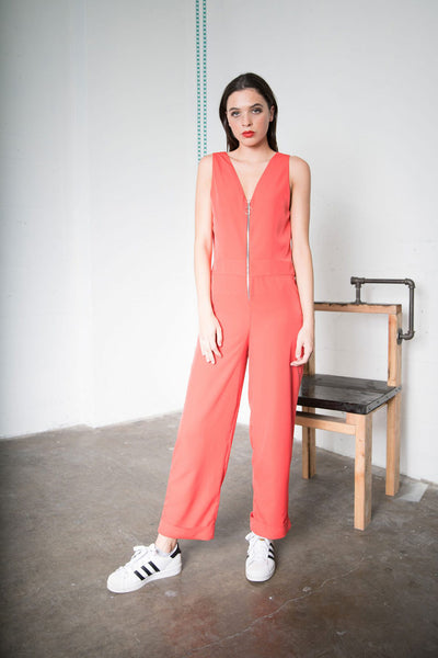 Nikki Jumpsuit - Crimson Georgette