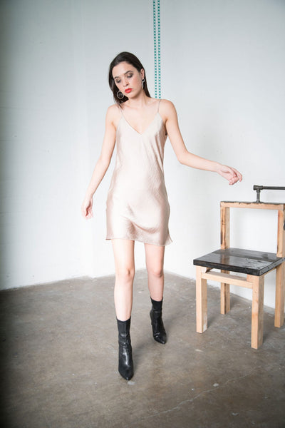 Nadine Slip Mini Dress - Champagne Silk