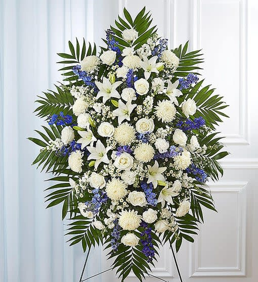 Blue and White floral spray