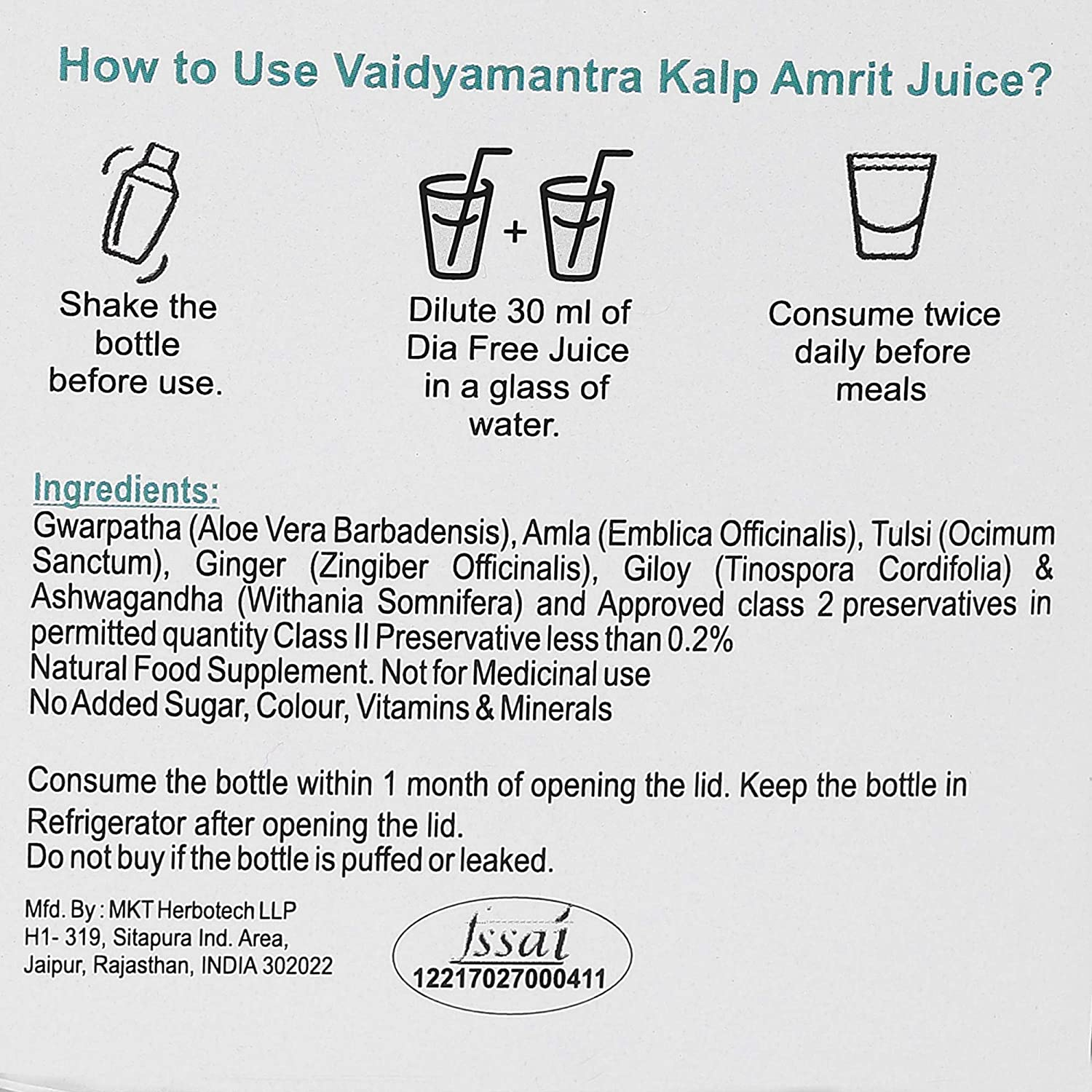 Vaidya Mantra Immunity Juice | Natural Juice for Immunity Building | Made from Tulsi Amla Ginger No Added Sugar 400ml