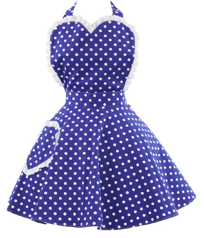 Retro Blue Polkadot Sweetheart Apron