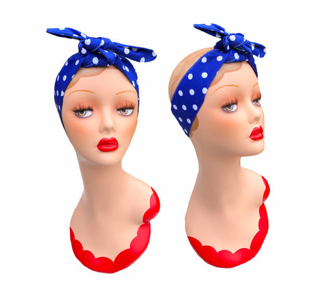Deliciously Dotty Blue Retro Hair Tie. Full size.