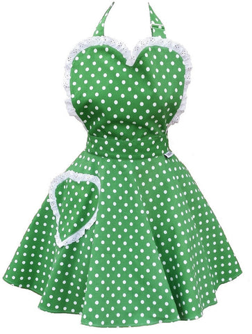 Deliciously Dotty Kelly Green Sweetheart Womens Apron