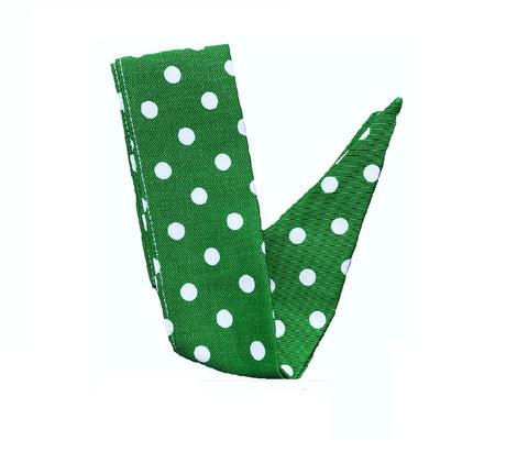Deliciously Dotty Green Retro Hair Tie. Full size.