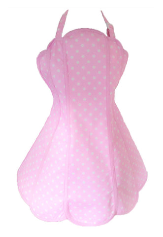 Deliciously Dotty Soft Pink Womens Panel Apron