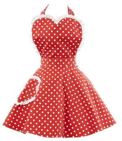 Deliciously Dotty Retro Red Womens Sweetheart Apron