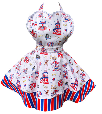 Cute Fairground Families Apron. Charity Apron for CCPA