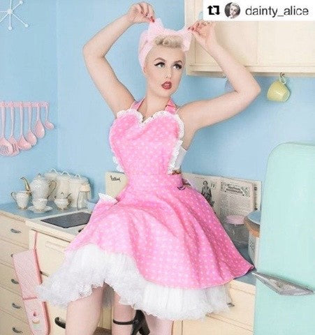 Dotty pink sweetheart apron