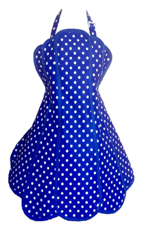 Sale. Deliciously Dotty Royal Blue Womens Panel Apron