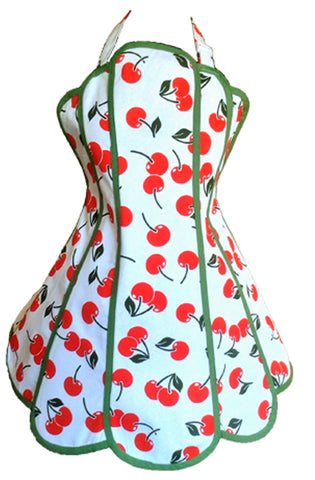 Cherry Bakes Well Womens Panel Apron