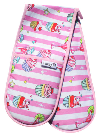 **Pre Order** Cupcake and Cocktails Oven Gloves. Pink Candy Stripe Oven Gloves