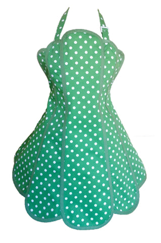 Sale. Deliciously Dotty Kelly Green Womens Panel Apron