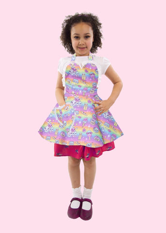 Cute pastel rainbow kawaii children's apron
