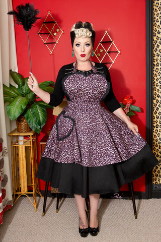 Retro Leopard Print Sweetheart Apron for Women