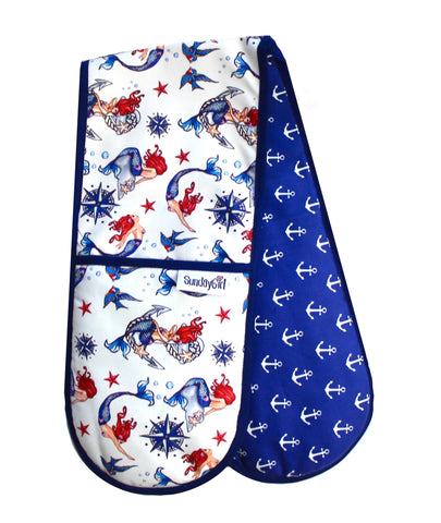 Nautical Oven Gloves. Retro Sailor Tattoo Mermaids and Ditsy Anchors. Oven Gloves