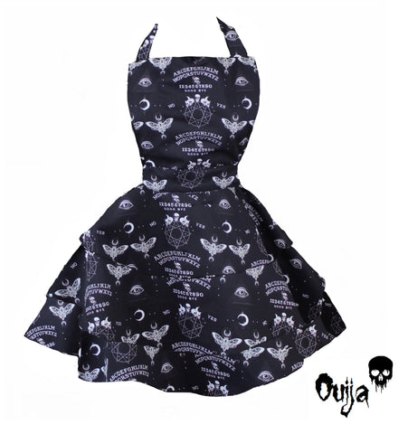 Black Ouija Occult Witch Women's Rara Apron. Retro Pin Up Black Witchy Goth Apron
